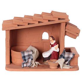 Washerwoman scene painted, 10 cm nativity Deruta s1