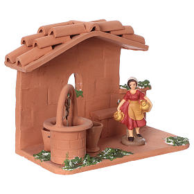 Terracotta woman at the well for Nativity scene 10 cm made in Deruta s2