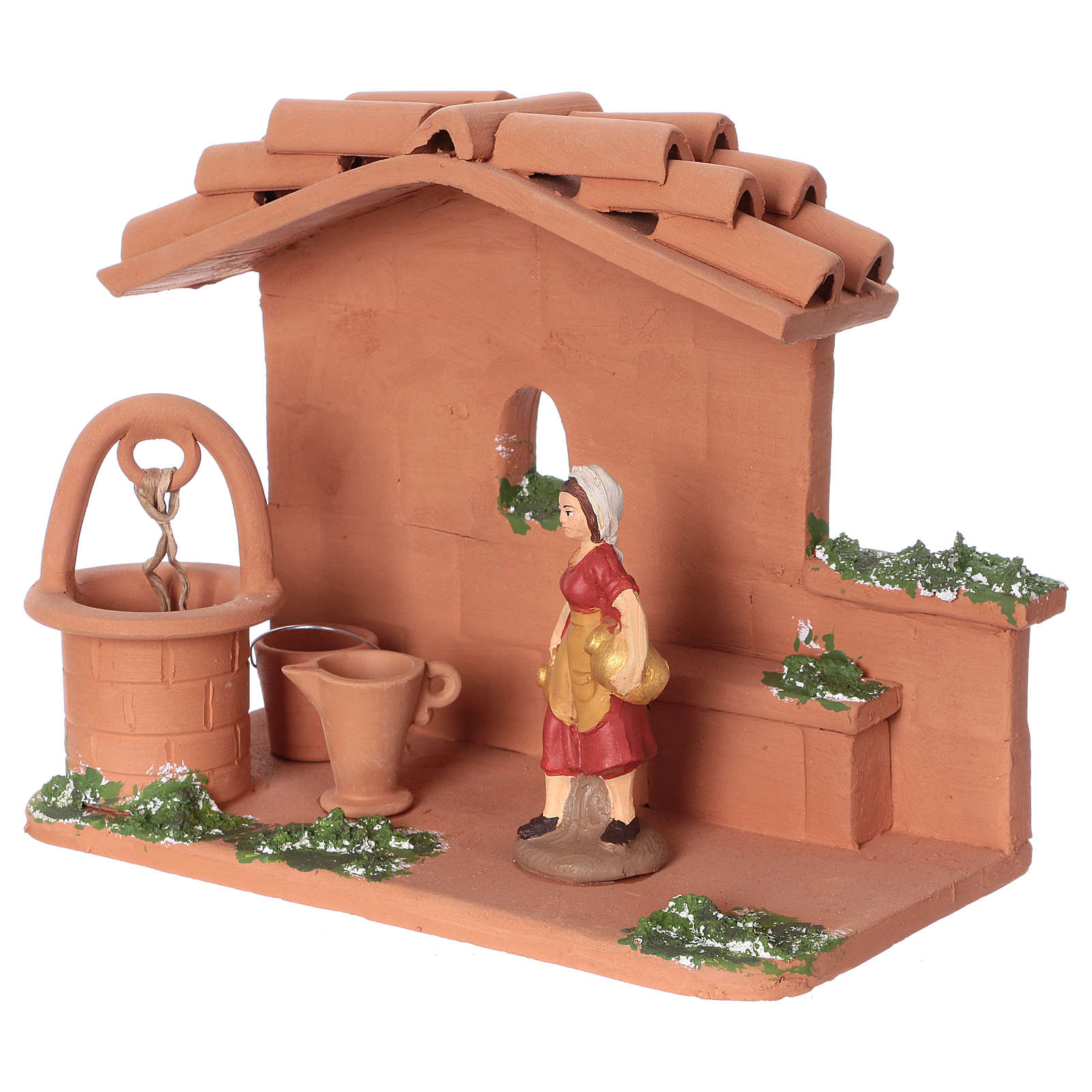 Woman at the water well in terracotta, 10 cm nativity Deruta 4
