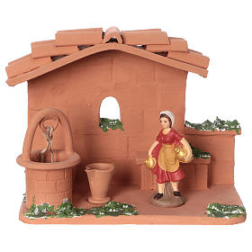 Woman at the water well in terracotta, 10 cm nativity Deruta s1