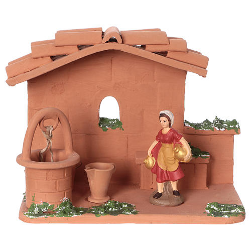 Woman at the water well in terracotta, 10 cm nativity Deruta 1