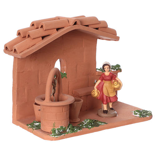 Woman at the water well in terracotta, 10 cm nativity Deruta 2