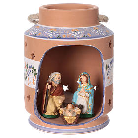 Terracotta Nativity Scene figurines from Deruta: Blue cylindrical lantern with Nativity scene 8 cm made in Deruta