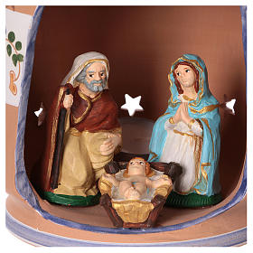 Blue cylindrical lantern with Nativity scene 8 cm made in Deruta s2