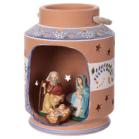Blue cylindrical lantern with Nativity scene 8 cm made in Deruta s4