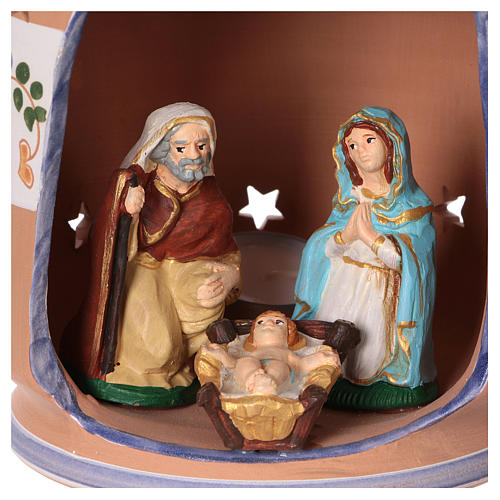 Blue cylindrical lantern with Nativity scene 8 cm made in Deruta 2