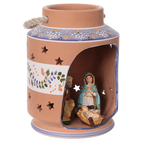 Blue cylindrical lantern with Nativity scene 8 cm made in Deruta 3