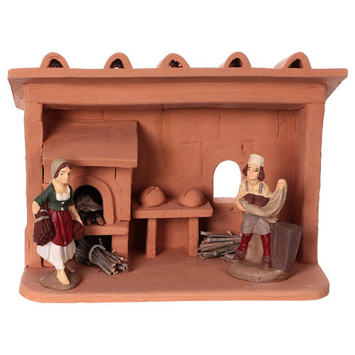 Terracotta baker for Nativity scene 10 cm made in Deruta 1