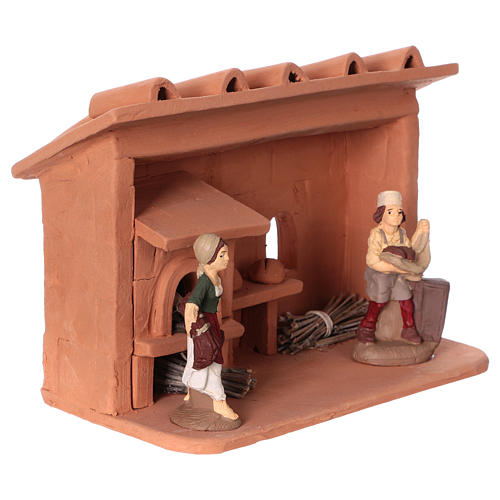 Terracotta baker for Nativity scene 10 cm made in Deruta 2
