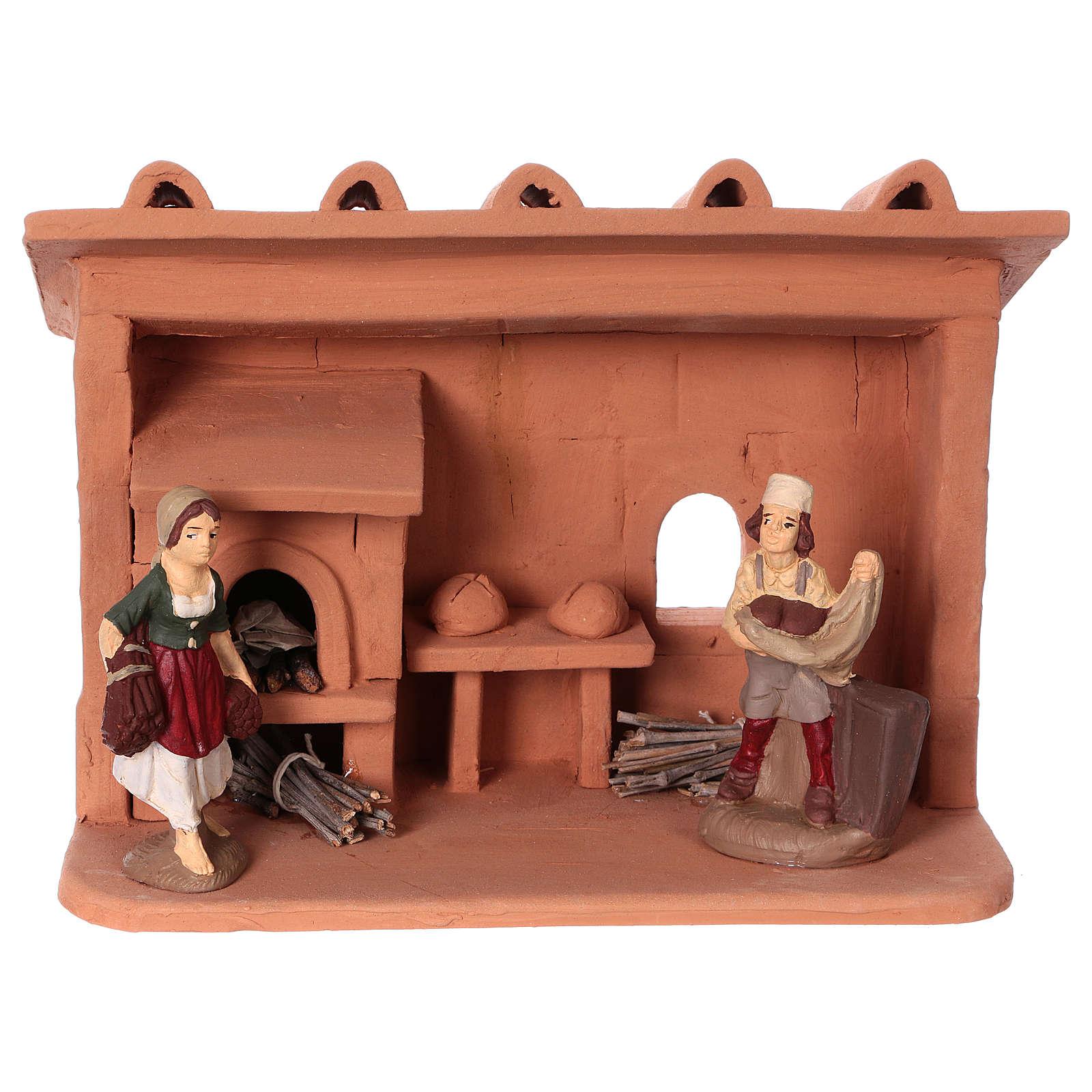 Baker in terracotta, 10 cm nativity Deruta 4