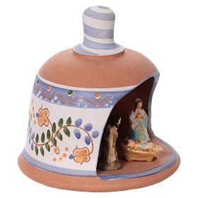 Cabaña de terracota azul con belén 3 cm Deruta s3