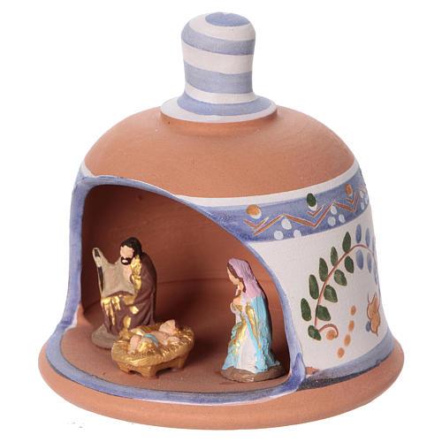 Cabaña de terracota azul con belén 3 cm Deruta 2