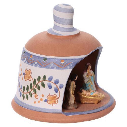 Cabaña de terracota azul con belén 3 cm Deruta 3