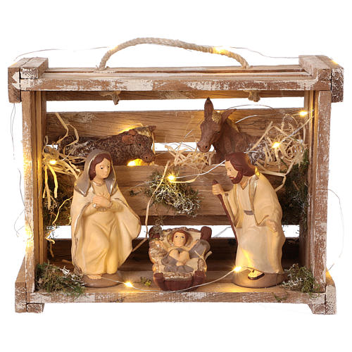 Portable wood box with lights and Deruta Nativity scene 12 cm 1