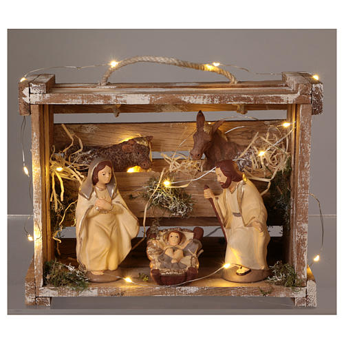 Portable wood box with lights and Deruta Nativity scene 12 cm 2