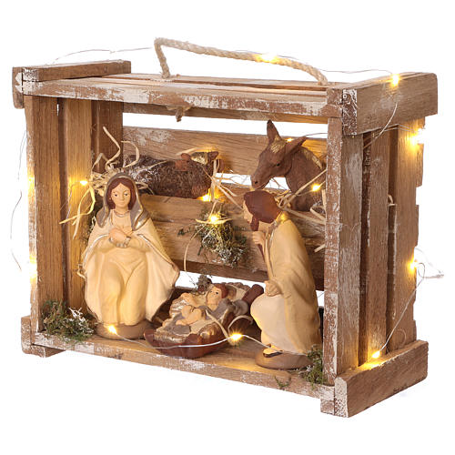 Portable wood box with lights and Deruta Nativity scene 12 cm 3