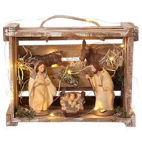 Cajita portátil elegante madera luces Natividad belén 12 cm Deruta s1