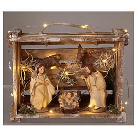 Cajita portátil elegante madera luces Natividad belén 12 cm Deruta s2