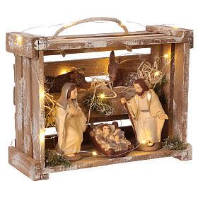 Cajita portátil elegante madera luces Natividad belén 12 cm Deruta s4