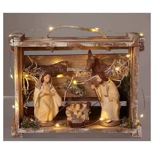 Cajita portátil elegante madera luces Natividad belén 12 cm Deruta 2