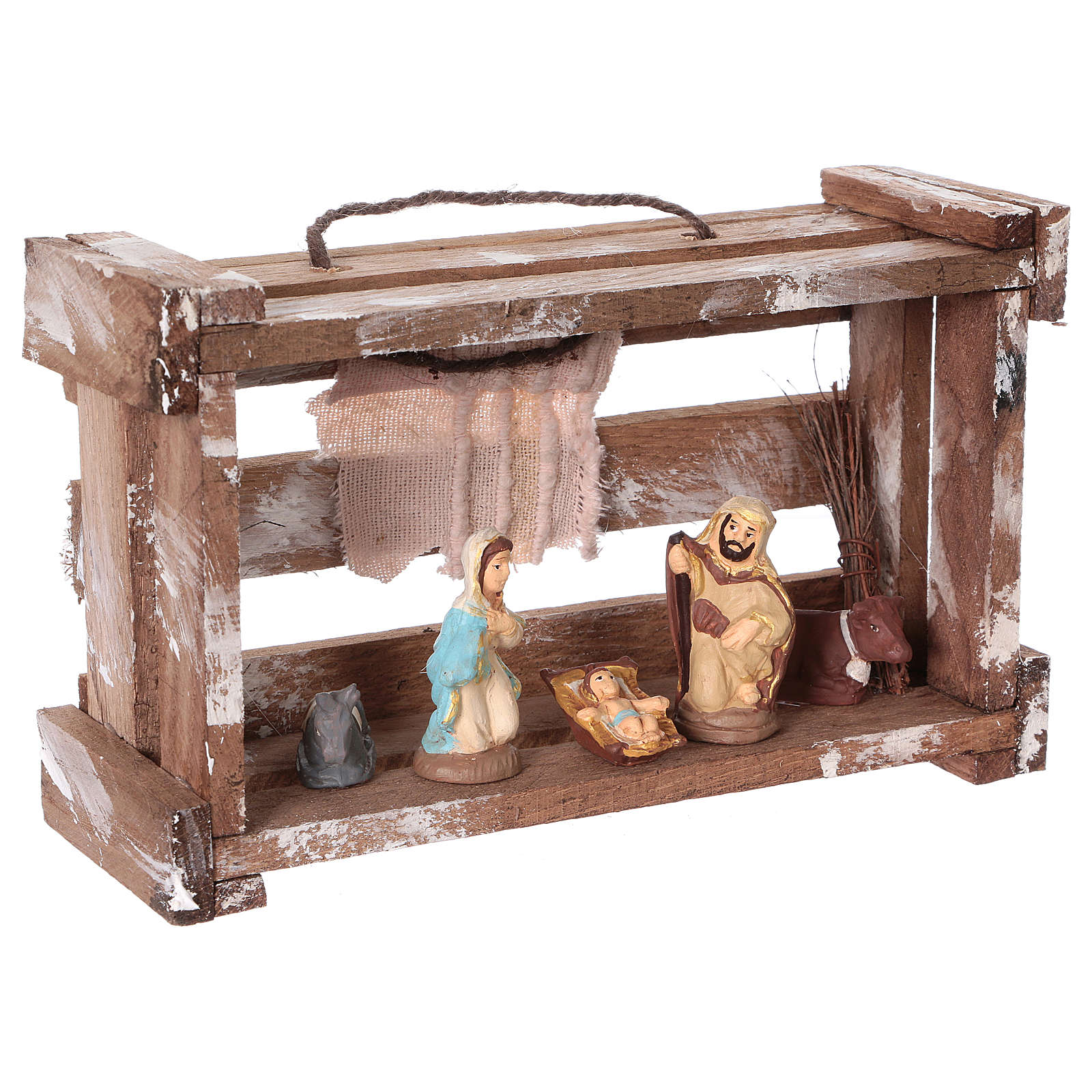 Portable wood box with lights and Deruta Nativity scene 6 cm 4