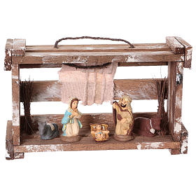 Portable wood box with lights and Deruta Nativity scene 6 cm s1