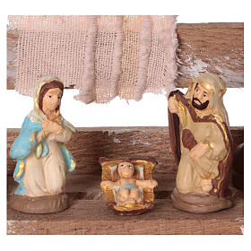 Portable wood box with lights and Deruta Nativity scene 6 cm s2