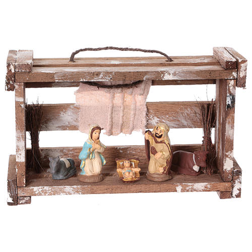 Portable wood box with lights and Deruta Nativity scene 6 cm 1