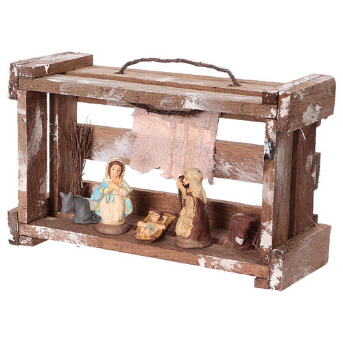 Portable wood box with lights and Deruta Nativity scene 6 cm 3