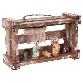 Cassetta portatile in legno con Natività presepe 6 cm Deruta s4
