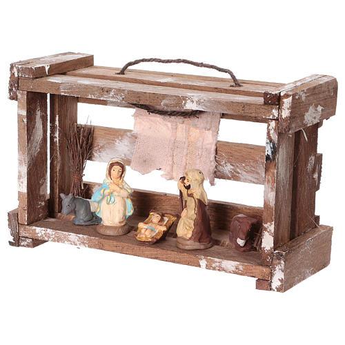 Cassetta portatile in legno con Natività presepe 6 cm Deruta 3