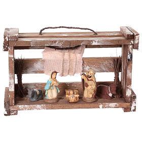 Presépio Terracota Deruta: Casinha portátil em madeira com Natividade para presépio Deruta com figuras de 6 cm de altura média