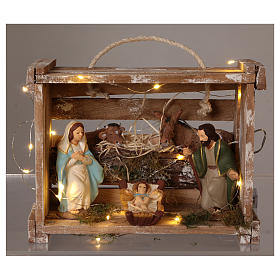 Portable wood box with lights and Deruta Nativity scene 12 cm s2