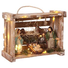 Cajita con luces portátil de madera con Natividad belén 12 cm s4