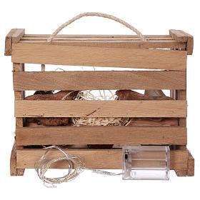 Cajita con luces portátil de madera con Natividad belén 12 cm s5