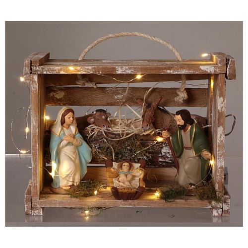 Cajita con luces portátil de madera con Natividad belén 12 cm 2