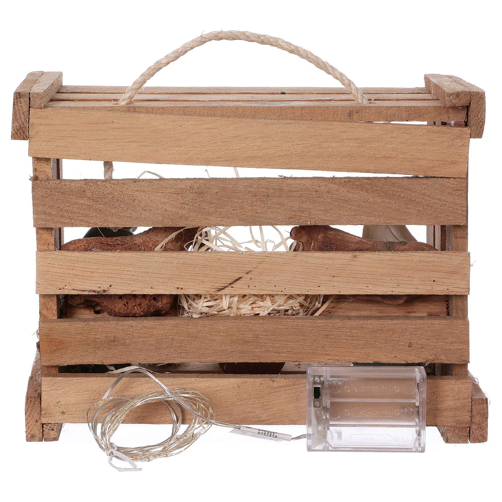 Cassetta con luci portatile in legno con Natività presepe 12 cm 4