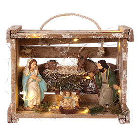 Cassetta con luci portatile in legno con Natività presepe 12 cm s1