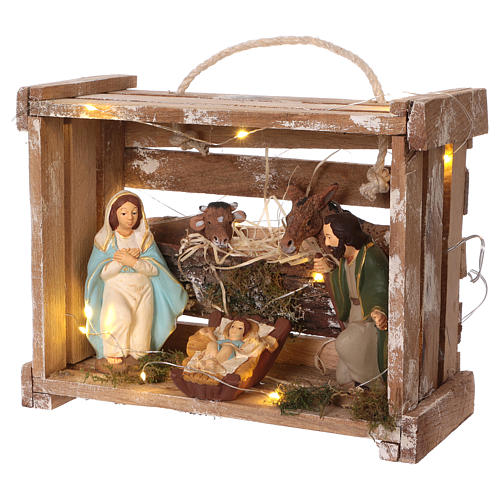 Cassetta con luci portatile in legno con Natività presepe 12 cm 3