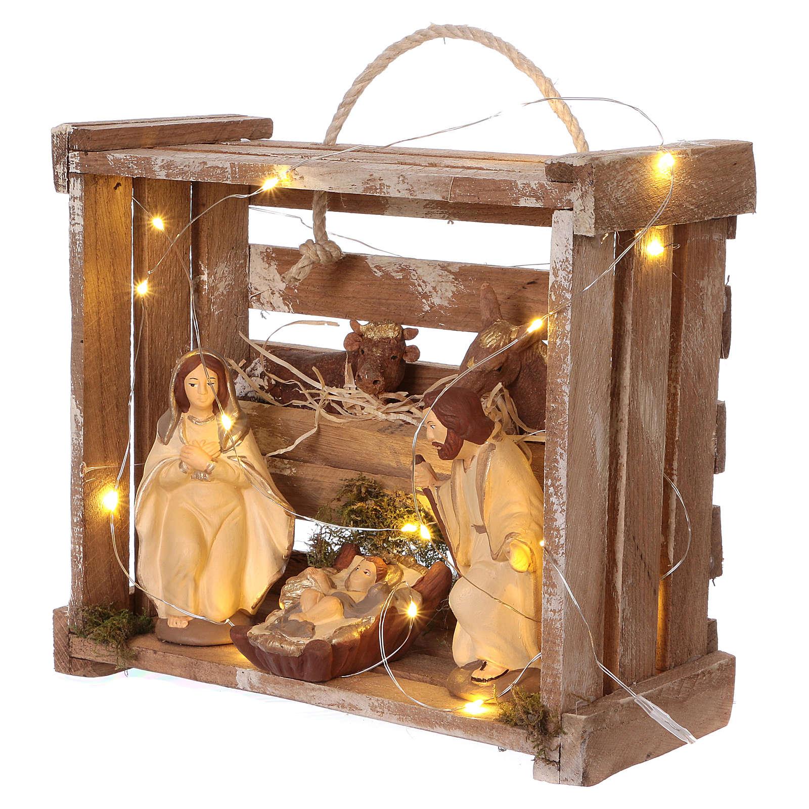 Cassetta luci portatile quadrata legno con Natività presepe 12 cm Deruta 4