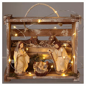 Cassetta luci portatile quadrata legno con Natività presepe 12 cm Deruta s2