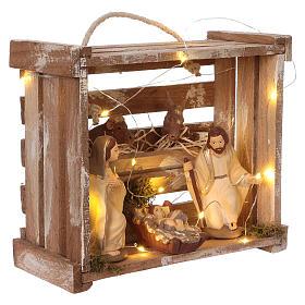 Cassetta luci portatile quadrata legno con Natività presepe 12 cm Deruta s4