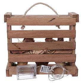 Cassetta luci portatile quadrata legno con Natività presepe 12 cm Deruta s5