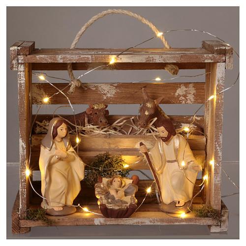 Cassetta luci portatile quadrata legno con Natività presepe 12 cm Deruta 2