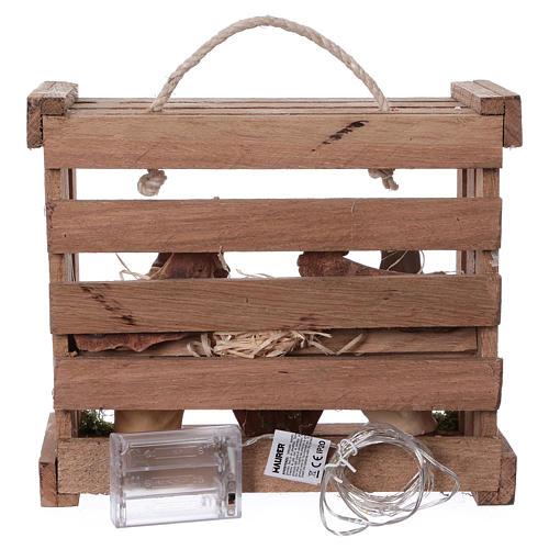 Cassetta luci portatile quadrata legno con Natività presepe 12 cm Deruta 5