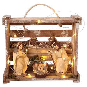 Presépio Terracota Deruta: Casinha portátil quadrada madeira com luzes e Natividade para presépio Deruta com figuras de 12 cm de altura média