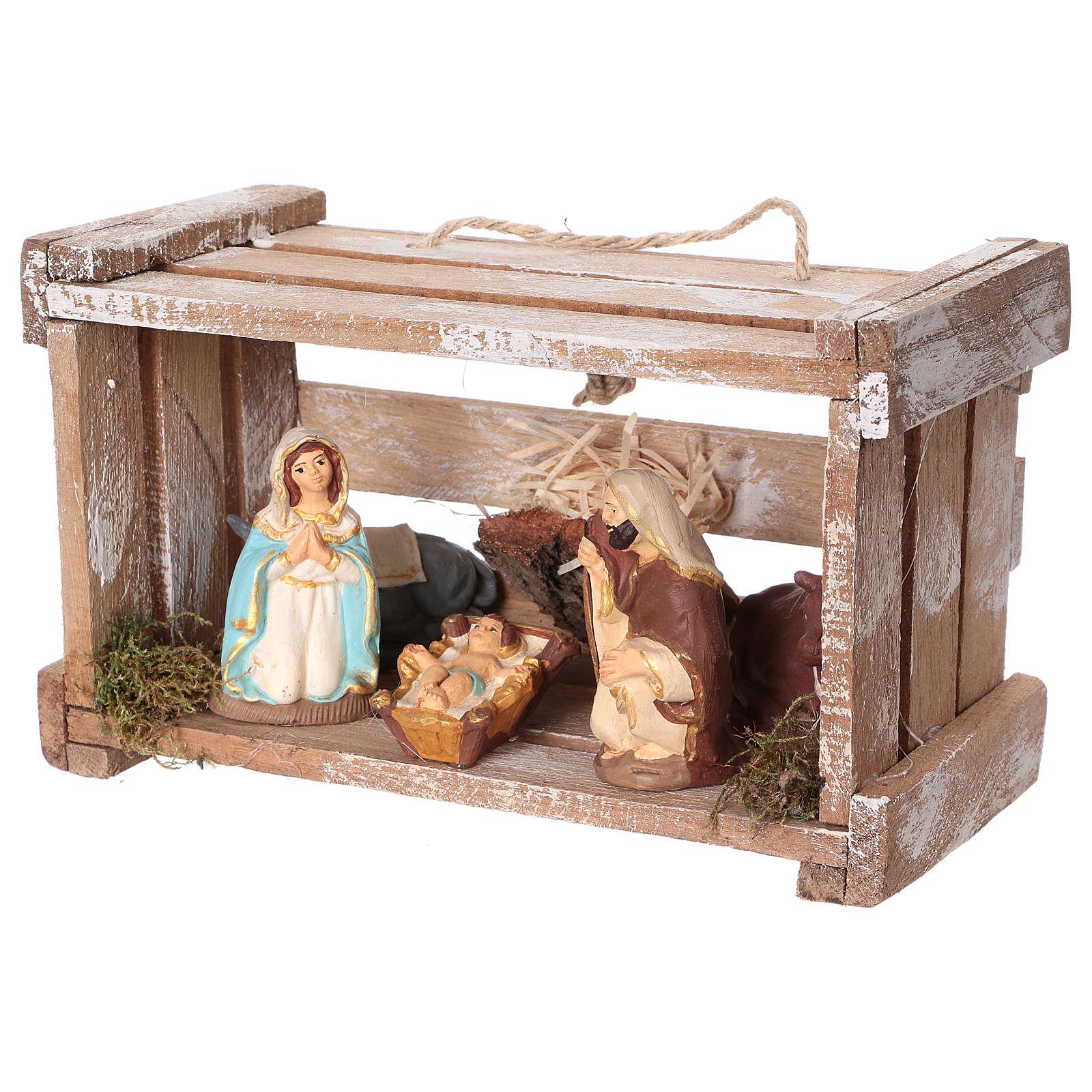 Portable wood box with Deruta Nativity scene 8 cm (Umbria) 4