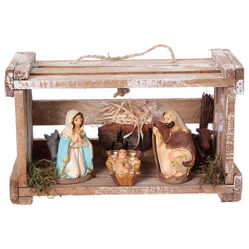 Portable wood box with Deruta Nativity scene 8 cm (Umbria) 1