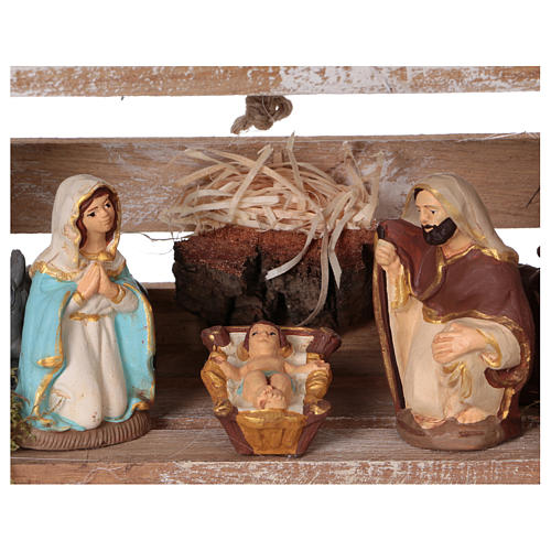 Portable wood box with Deruta Nativity scene 8 cm (Umbria) 2