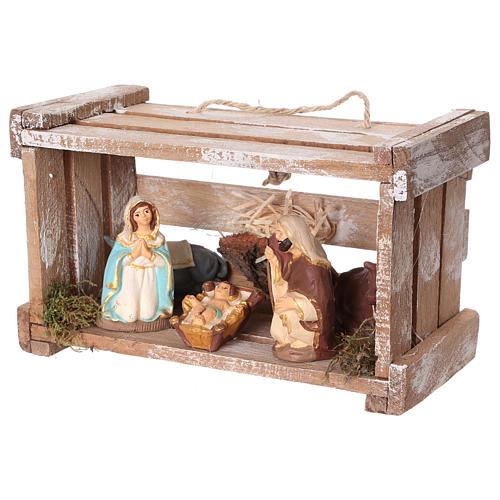Cajita portátil de madera con Natividad belén 8 cm Deruta 4